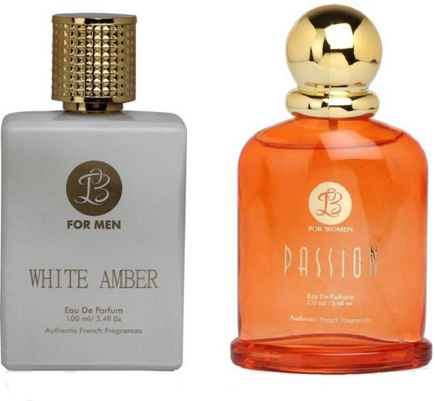 Lyla Blanc Mens WHITE AMBER & Womens PASSION - (Set of 2 Perfume for Couple) (100ml each) Eau de Parfum  -  100 ml