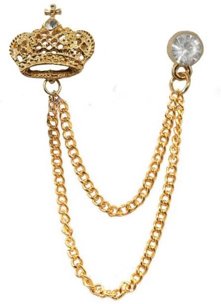 8d3e6aa9a34 Sullery Metal Brooch Pin Men Women Chain Crystal Rhinestone Tassel Brooch