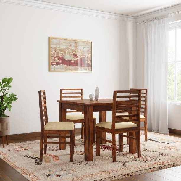 1ff9a7e8c3 The Attic Morocco Upholstered Sheesham Solid Wood 4 Seater Dining Set