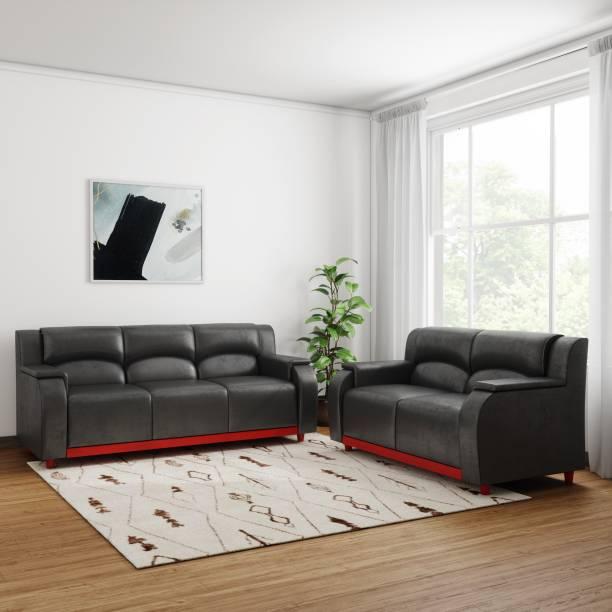 Kurlon Hayden Leatherette 3 2 Black Sofa Set