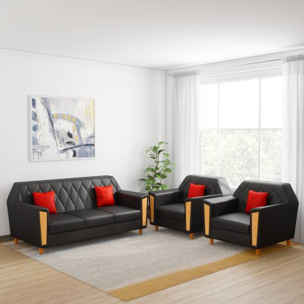 4b3ce1d9514 Kurlon Crescent Leatherette 3 + 1 + 1 Black Sofa Set