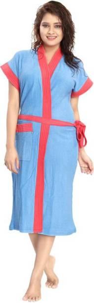 Pugnaa Red Strip Blue XL Bath Robe