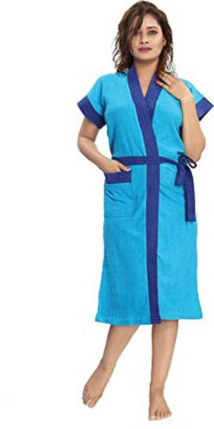 Pugnaa Navy Belt Ferozi Free Size Bath Robe