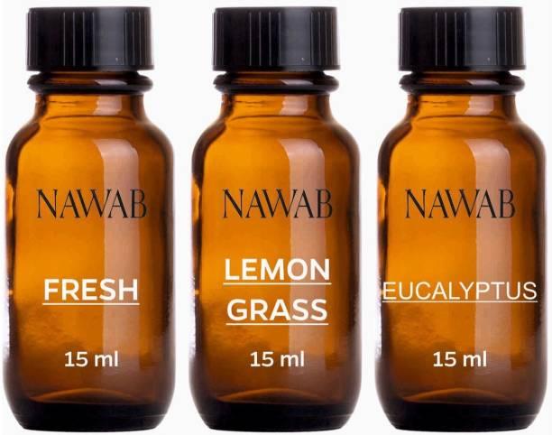 NAWAB essential aroma Diffuser oil(Fresh,Lemongrass,Eucalyptus-15ml each) Aroma Oil