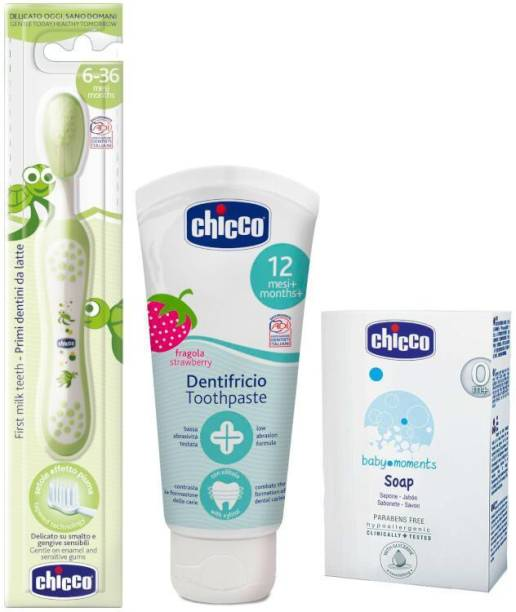 Chicco Baby Oral Pack 12m+ (Tooth Brush, ToothPaste 50ml and Soap 75gms)