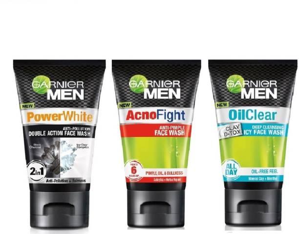 GARNIER facewash acno fight +oil clear +power white 100 ml x 3 Face Wash