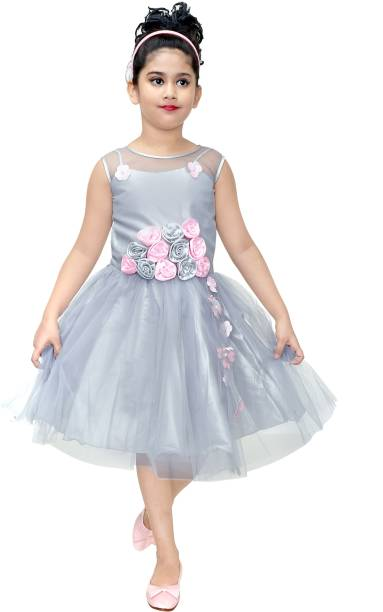 CELEBRITY CLUB Girls Midi Knee Length Festive Wedding Dress 933c457cd270