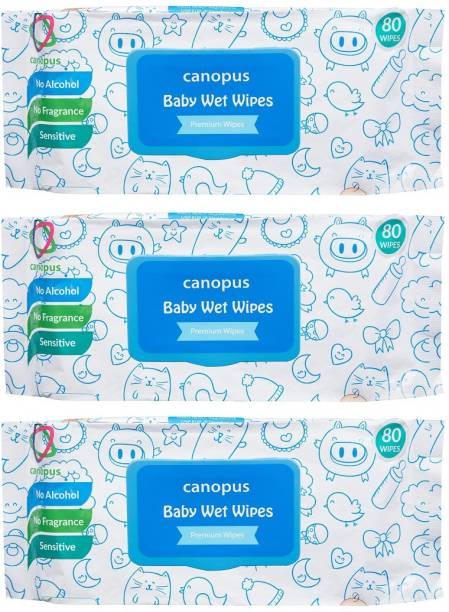 Canopus Premium Baby Wet Wipes natural, big size wipes (80 pcs) (Pack of 3)