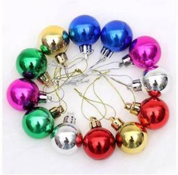 ONRR Collections Balls multicoloured 1.75inches/4.5cm size pack of 24pcs shining multicolured balls Christmas Tree Hanging Ornaments Pack of 24