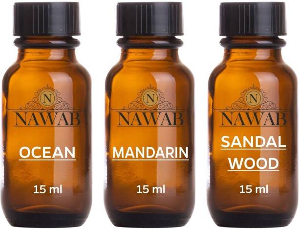 NAWAB essential aroma Diffuser oil(Ocean,Mandarin,Sandalwood-15ml each) Aroma Oil