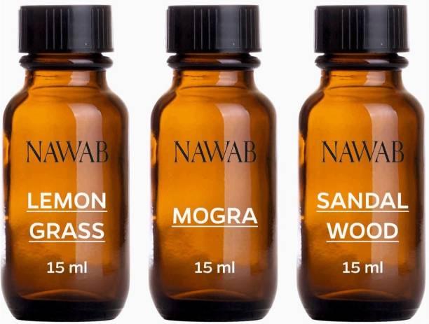 NAWAB essential aroma Diffuser oil(Lemongrass,Sandalwood,Mogra-15ml each) Aroma Oil