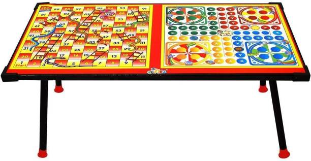 AVANI Big Wooden Ludo,Snakes and Ladders Printed Foldable Study Table Party & Fun Games Board Game
