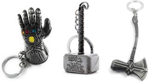 eweft Combo of Avengers Infinity War Thanos Hand, Thor Hammer & Thor Axe Metallic Silver Key Chain