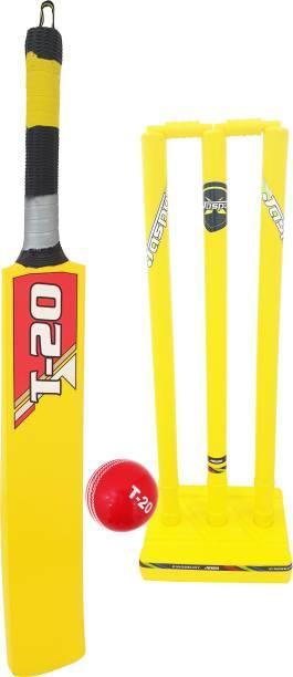 Jaspo T-20 Wooden Cricket Set(Size-5)(1 Wooden bat,1 T-20 Ball,3 Plastic Stumps,2 Bail)(YELLOW) Cricket Kit
