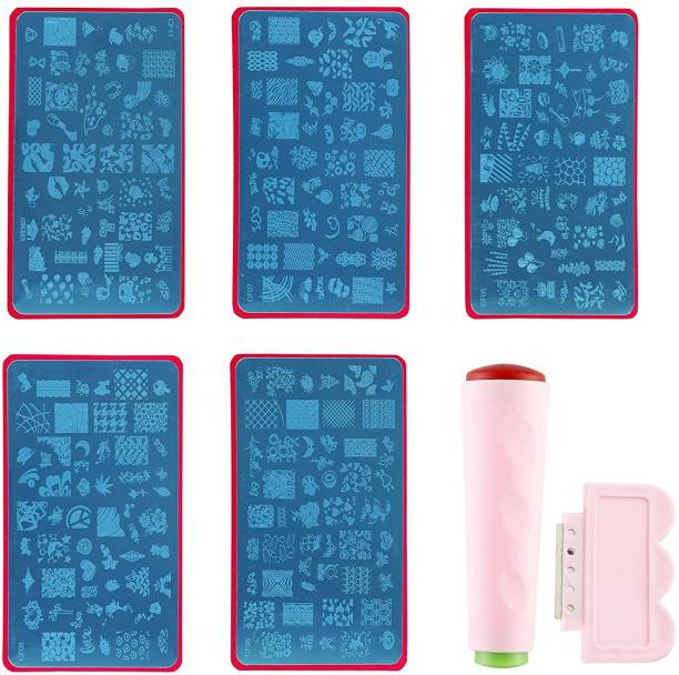 FOOLZY Jumbo Nail Stamping Image Plates Kit (5 pcs) + Double Sided Stamper + Metal Scraper. Nail Art & Decoration Manicure Kit (Combo Offer).