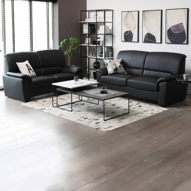 Furn Central Leatherette 3 2 Black Sofa Set