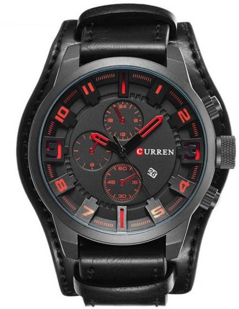 9c0ea750b7 Curren Full Black Bussiness Casual Leather Watch with Decorative Sub-Dials  for Men and Boys