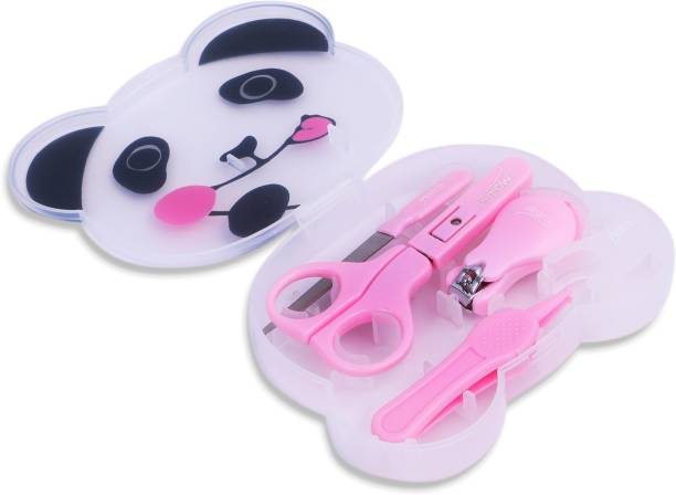 U-grow PANDA 4 Pcs Baby Manicure Set Plastic Stainless Steel Nail Clippers Scissor Cutter Kit with Case Children Kids Nails Care Too Perfect Baby Gift (Pink)