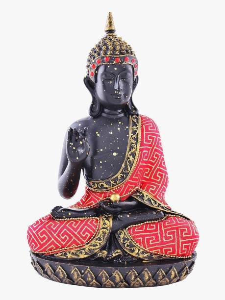 ARCHIES Buddha Statue In Vitarka Mudra Showpiece For Home Decoration, Spiritual Vastu Fengshui Items Black And Red Polyresin Decor (23.5x15cm.), 1Pc Decorative Showpiece  -  22 cm