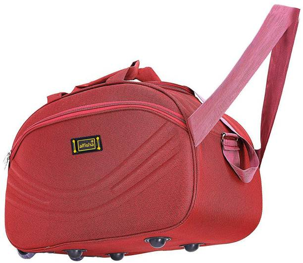 3b12f972fc06 alfisha Unisex Synthetic Lightweight Waterproof Luggage Travel Duffel Bag  with Roller wheels (S Red