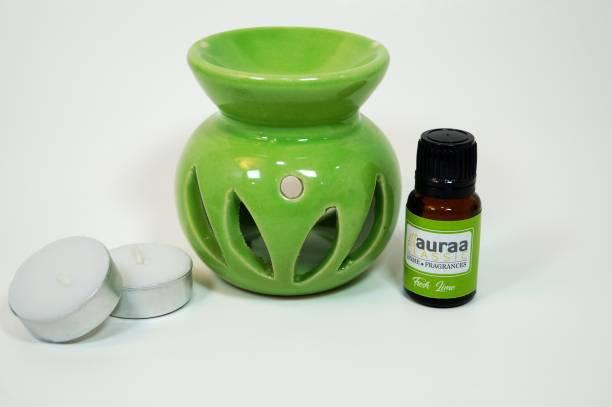 Asian Aura Aroma Gift Set Oil Burner Aroma Diffuser (Free 2 Tea Light Candles & 10 ml Fresh Lime Aroma Oil) Diffuser
