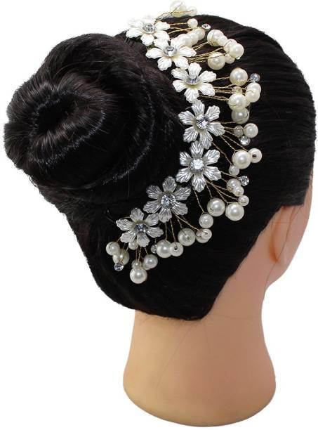 Ear Lobe & Accessories Women's White Colour Hair Decors (Ivory) Hair Accessory Set