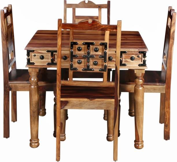 Balaji Wooden Sheesham Wood Solid Wood 4 Seater Dining Set