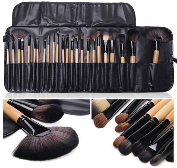 SKINPLUS Makeup Brush Set, 24 Pieces with Black PU Leather Case