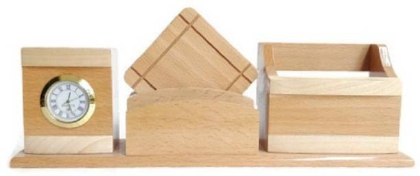 Shivom Crafts 4 Compartments Wooden Wooden Tea Coaster Pen Stanf Multi Purpose Uses