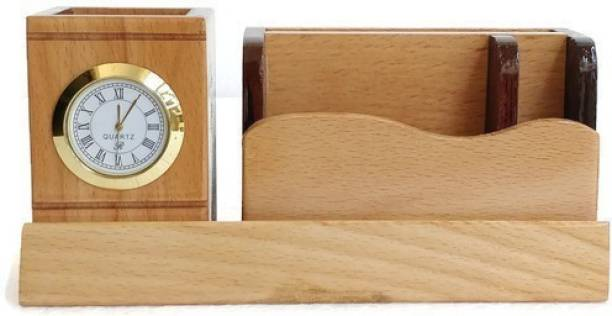 Shivom Crafts 4 Compartments Wooden Wooden Pen Holder With Watch,Visiting Card,Mobile Fone Holder.