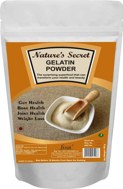 Nature's Secret Protein Gelatine Powder for Making Sweet and Jam, DIY Peel Off Mask, Blackheads and Whiteheads Remover, 100 gm (Yellow)