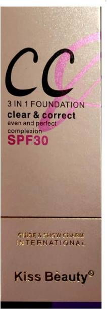 Kiss Beauty C C 3in1 Foundation Clear & Corret for even & Perfect complexion, S P F 30 Foundation
