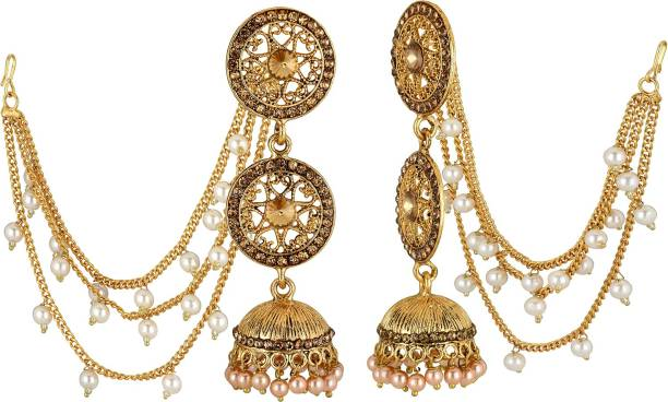 36e4d1cde3c Spargz Classic Bridal Wear Gold Plated Synthetic Stone Hanging With Jhumki  Earring For Women Diamond Alloy