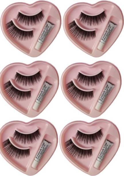 BETRENDING False-fake eyelash with glue set natural [pack of 6] for professional use