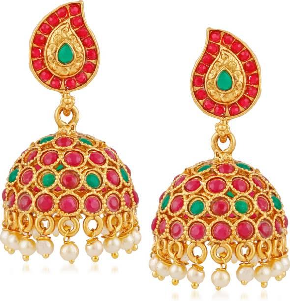 737b594dcaea1a Meenaz Matte Gold Plated Wedding Kundan Pearl Jewellery Sets Jhumka /  Jhumki Earrings For Girls Women