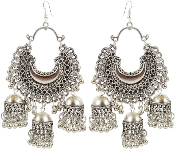 39982cebe1161 Slamay Fashion German Silver Traditional Alloy Fish Hook Antique Gold  Tripple Jhumki Earring for Women Beads