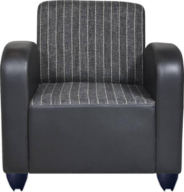 Bharat Lifestyle Bharat Lifestyle Quatra Leatherette and Fabric 1 Seater  Sofa