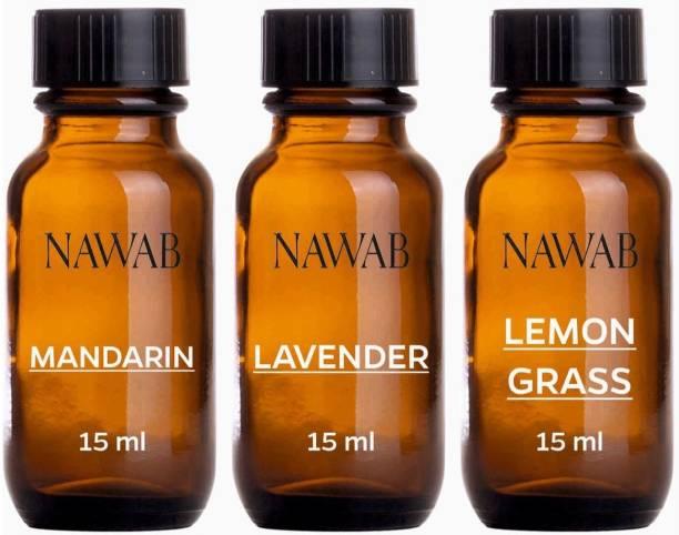 NAWAB essential aroma Diffuser oil(Mandarin,Lavender,Lemongrass-15ml each) Aroma Oil