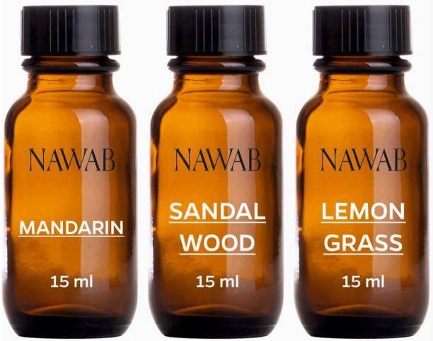 NAWAB essential aroma Diffuser oil(Mandarin,Lemongrass,Sandalwood-15ml each) Aroma Oil