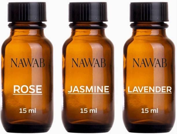 NAWAB essential aroma Diffuser oil(Lavender,Rose,Jasmine-15ml each) Aroma Oil