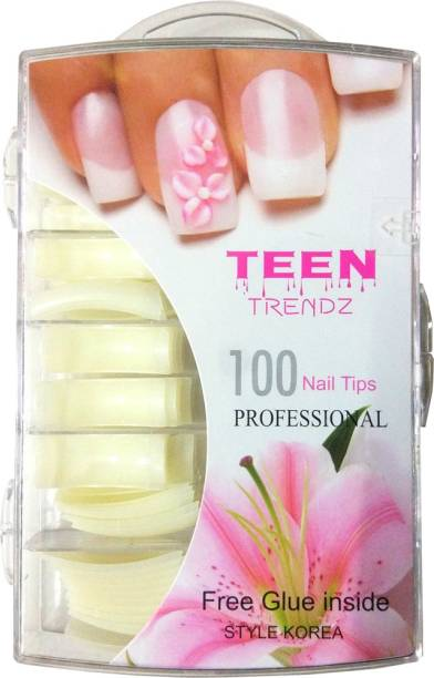 AuraSkin acrylic artificial shining fake nails french manicure french nails yellowish white (Pack of 100