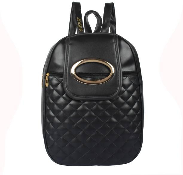 7958be26d5 MUSRAT PU Leather Backpack School Bag Student Backpack Women Travel bag 10  L Backpack BLACK 10.0