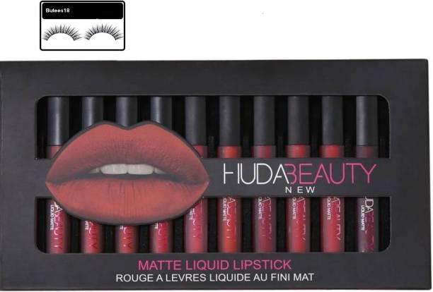 4b6133484a4 Butees18 Huda Beauty COMBO OF 12 pc set matte lipstick WITH 1 PAIR EYELASHES