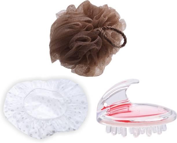 GUBB BATH COMBO (Bath & Body Massager Brush, Shower Cap 1s & Pebble Loofah Sponge)