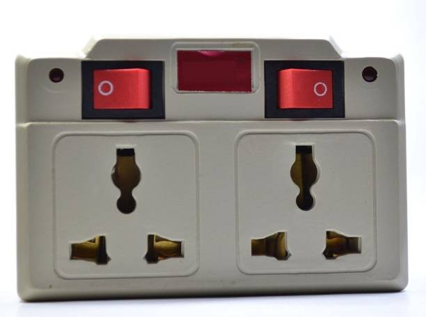 ESN 999 Multiplug 2 switches & 4 Sockets with Indicator-Off White 6 A Three Pin Socket