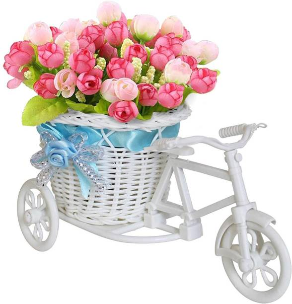 TIED RIBBONS Cycle Shape Flower Vase with Peonies Bunches Plastic Flower Basket