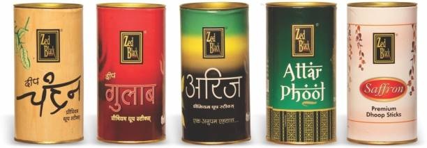Zed Black Premium Incense Dhoop Sticks Tin Combo Of 5 - Deep Chandan , Deep Gulab , Arij , Attar Phool & Saffron Natural Dhoop Batti