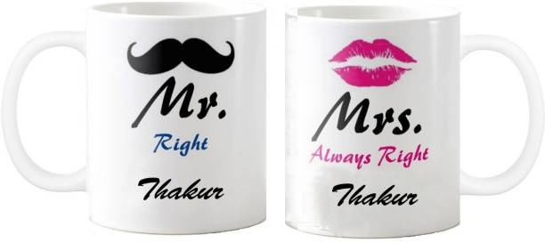 Exoctic Silver Mr. & Mrs….Thakur Right Couple Anniversary Ceramic Coffee Mug