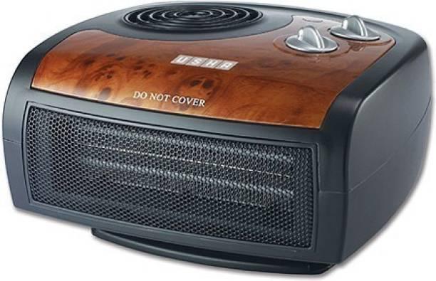 USHA FH 1212 PTC Fan Heater (1212 PTC) 1500-Watt with Adjustable Thermostat (Black/Brown) Fan Room Heater