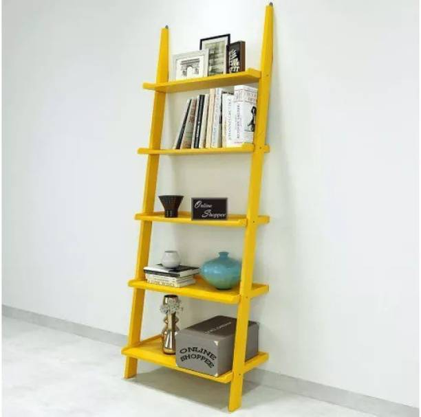 Onlineshoppee Leaning Bookcase Ladder Engineered Wood Open Book Shelf